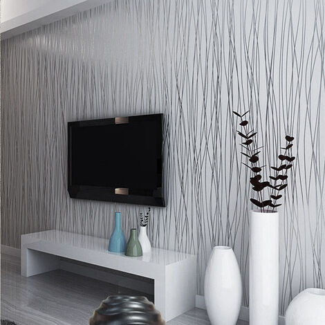 10M 3D Wall Paper Crushed Silk Striped Grey Silver Textured Wallpaper Background