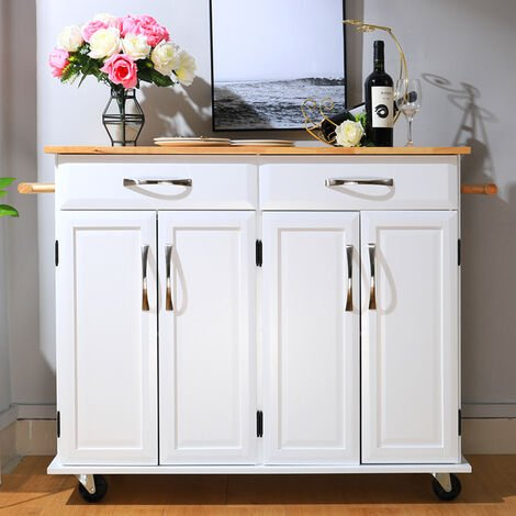 2 Drawers Wooden Kitchen Mobile Trolley Storage Cabinet Cart, White