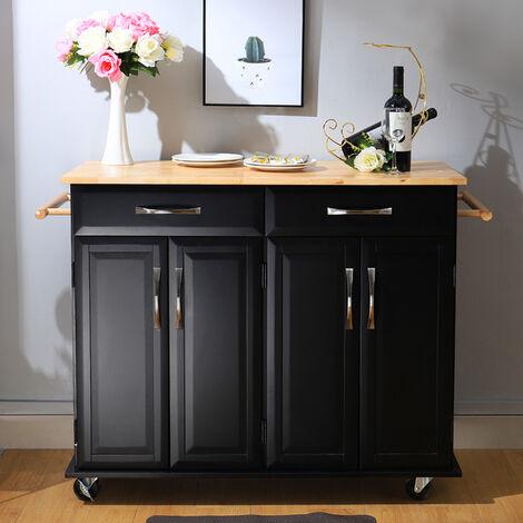 2 Drawers Wooden Kitchen Mobile Trolley Storage Cabinet Cart, Black