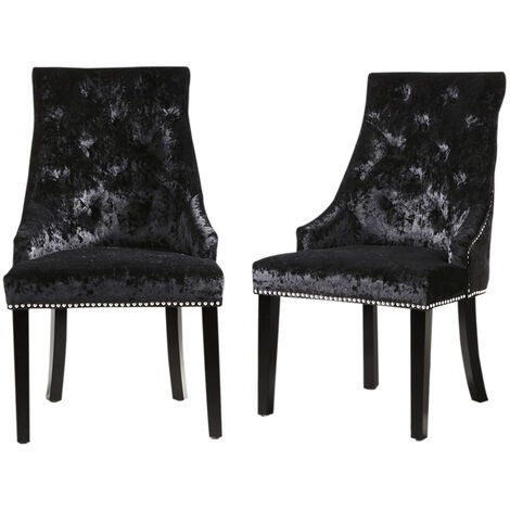Set of 2 Crushed Velvet Buttoned Dining Chairs, Black
