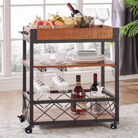 3 Tier Kitchen Serving Trolley Cart Wood Tray