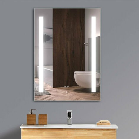 LED Bathroom Mirror Cabinet With Shelf, Shaver Socket,Touch Switch Sensor, Clock