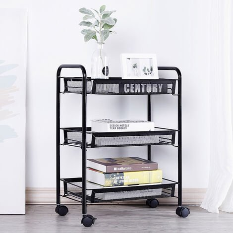 3 Tier Portable Kitchen Salon Spa Trolley Mesh Storage Rack, Black