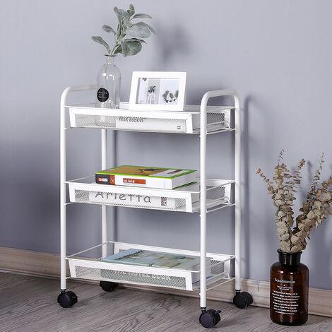 3 Tier Portable Kitchen Salon Spa Trolley Mesh Storage Rack, White