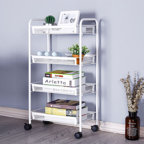 4 Tier Portable Kitchen Salon Spa Trolley Mesh Storage Rack, White