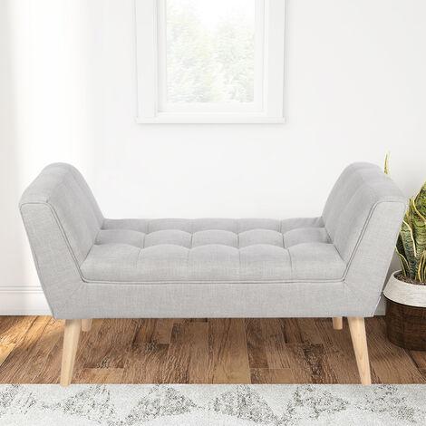 Linen Footstool Window Seat Bench, Grey