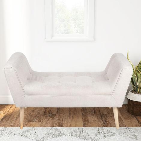 Linen Footstool Window Seat Bench, Light Grey