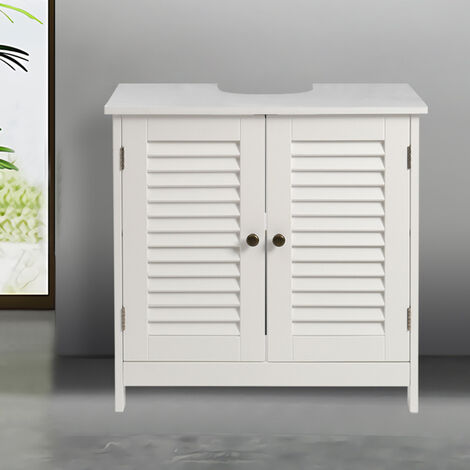 Bathroom Under Sink Storage Cabinet Double Doors Shelves Cupboard Unit