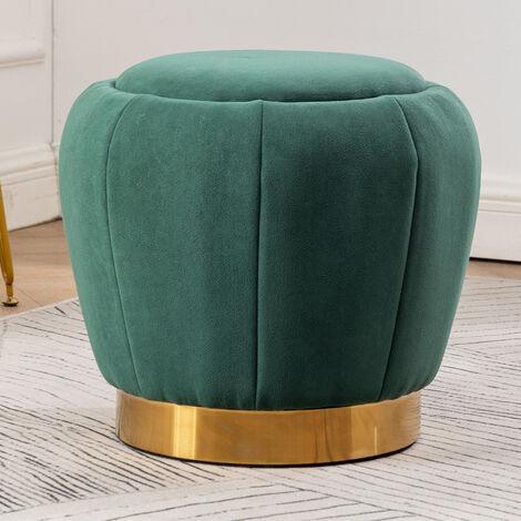 Peach Shape Velvet Footstool, Green