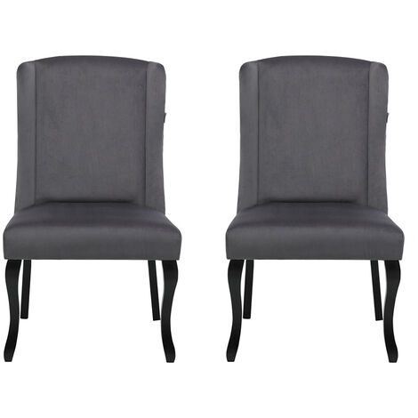 Set of 2 Velvet Dining Chairs, Dark Grey