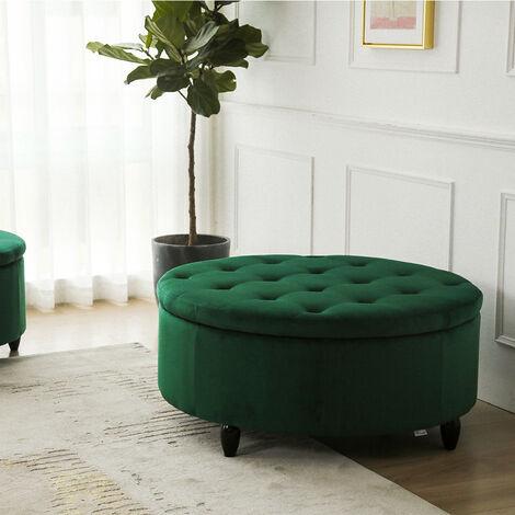 80CM Round Velvet Storage Footstool, Green