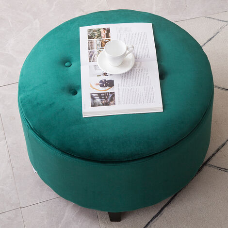 57CM Round Velvet Storage Footstool, Green
