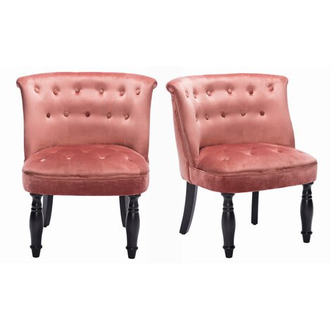 Set of 2 Velvet Classic Buttoned Dining Chair, Rose Pink