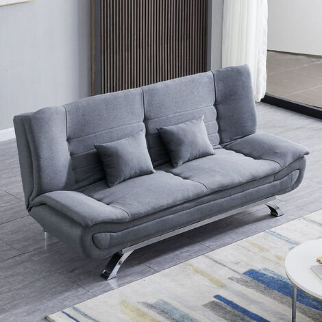 Grey S 3 Seater Recliner Sofa Bed, Reclining Sofa Bed Couch