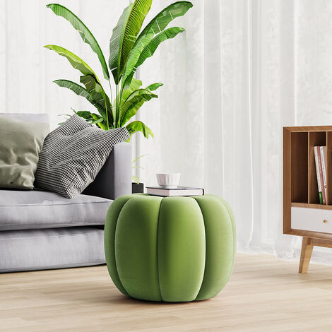 45CM Spandex Velvet Pumpkin Shape Footstool, Light Green