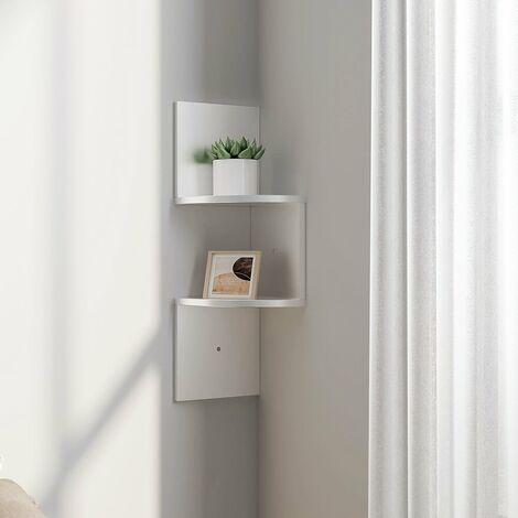Floating Wall Corner Shelves Display Storage Rack, 2 Tier, White