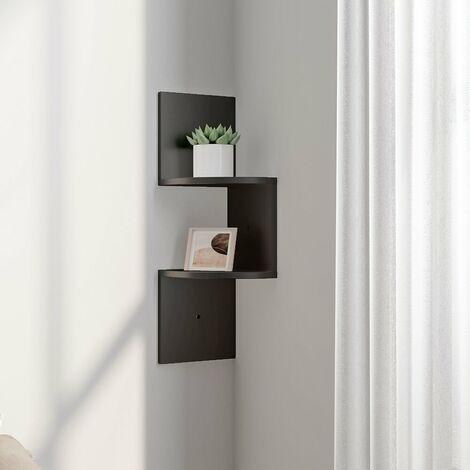 Floating Wall Corner Shelves Display Storage Rack, 2 Tier, Black