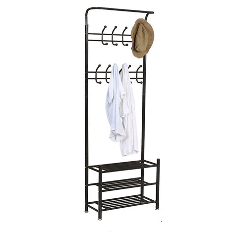 Hat and Coat Rack Stand Hall Tree with Hooks Storage Shelves, Black