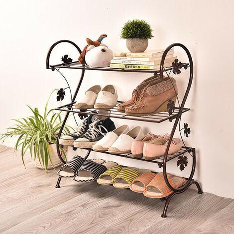 4 Tier Storage Shelf Iron Shoe Rack Footwear Plants Stand, Black