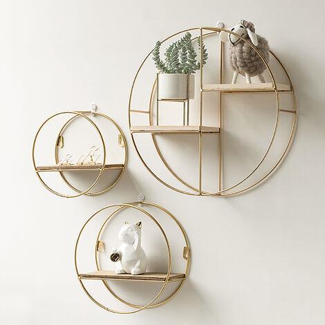 Floating Gold Metal Round Wall Shelf, Round Wall Shelf Decor Ideas