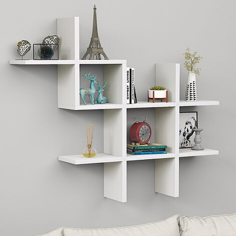 Floating Wall Shelves Display Bookshelf Storage Rack, White