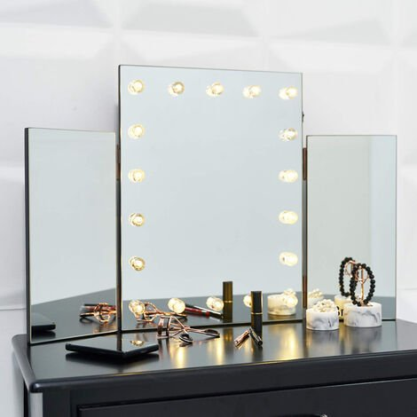 LED Lights Triple Dressing Table Make up Mirror