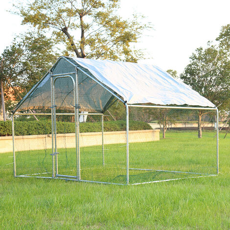Chicken Run Rabbit Ducks Poultry Cage Iron Tube Coop With Gate, 3x2x2M