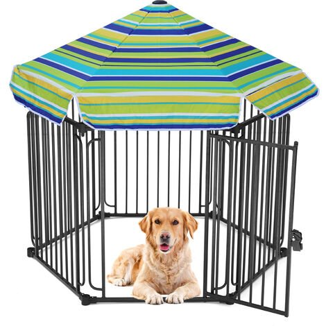 Extra Large Garden Pet Play Cage Run Panel Fence With Roof, 6 Panel