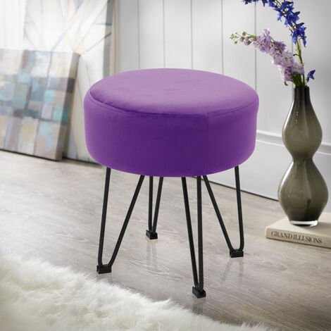 Round Dressing Table Stool Soft Velvet Piano Chair Makeup Seat Wire Legs Purple