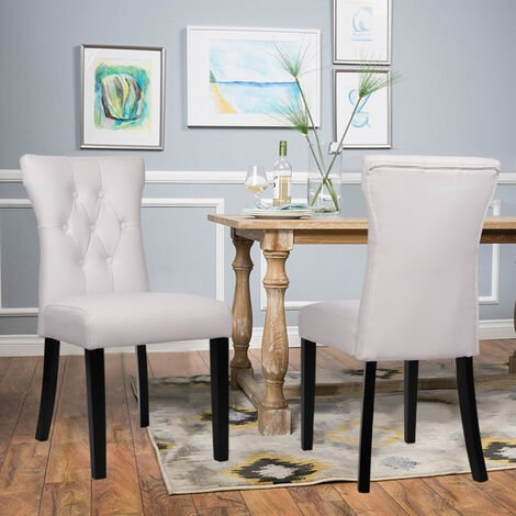 2x Kitchen Dining Room Chairs Dinning Chair PU Leather Padded Seat Wooden Legs White