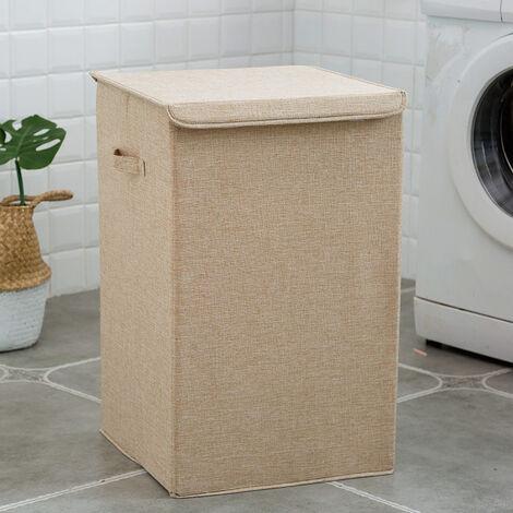 Linen Laundry Basket Hamper Organizer with Lid 50L Storage Capacity Beige