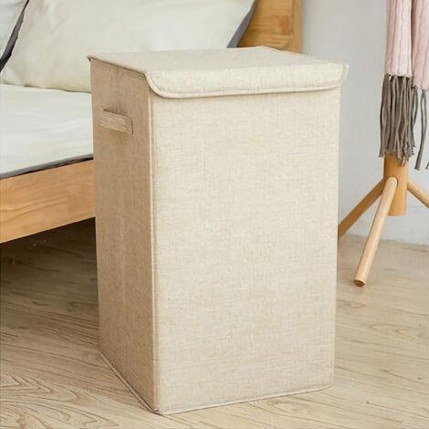 Foldable Laundry Baskets Bins Hamper Bag Washing Clothes Storage Folding Basket Beige