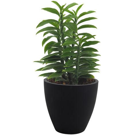 Plant Pot Wave Flower Pot Box Patio Terrace Flower Box Black 32 x 18 x 30cm