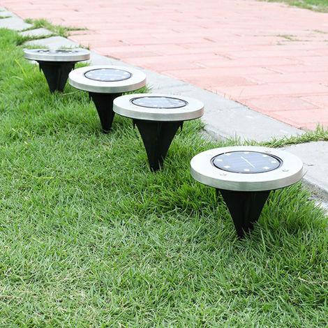 Set of 4 Solar Ground Lights Floor Decking Patio Outdoor Garden Lawn Path LED Lamp