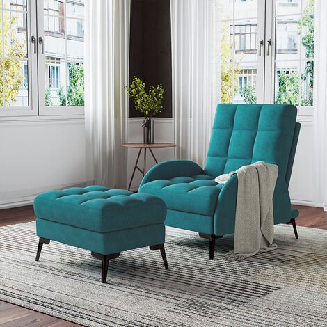 Frosted Velvet Recliner Chair with Footstool, Green