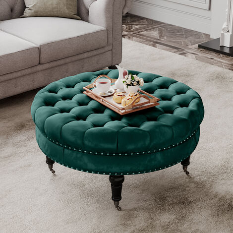 85CM Velvet Round Buttoned Footstool With 4 Casters, Green