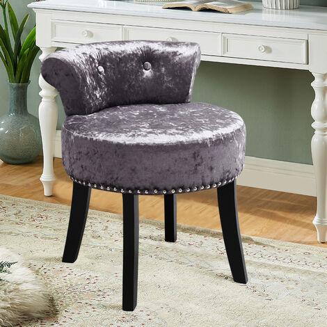 Crush Velvet Dressing Table Chair Vanity Makeup Stool Pouffe Footstool Bedroom Chair , Dark Grey