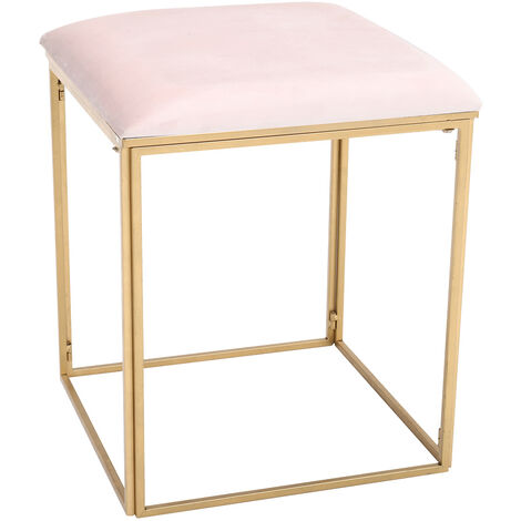 Pink Velvet Dressing Table Stool Chair Pouffe Golden Metal Legs Bedroom Seat Square