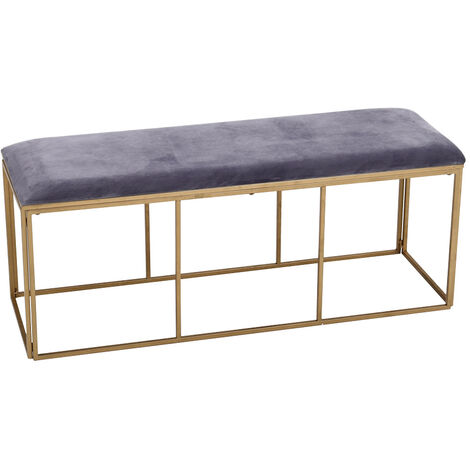 Grey Velvet Padded Bench with Geometric Gold Metal Legs