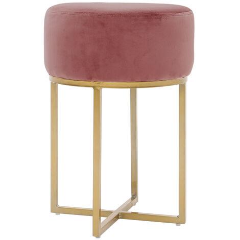 Pink Dressing Table Chair Round Vanity Bedroom Velvet Stool Pouffe Metal Golden Leg