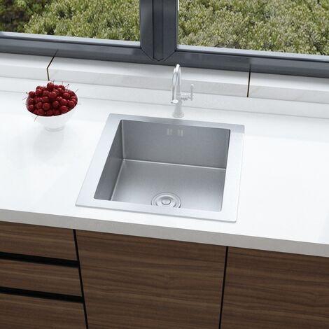Stainless Steel Kitchen Sink Handmade Single Bowl Drainer Waste Kits