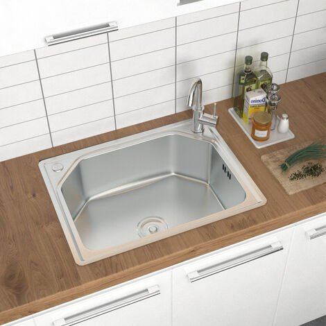 Catering Kitchen Sink Stainless Steel Inset Single Bowl Laundry Topmount Square