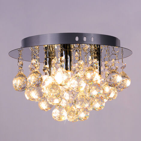 25CM LED Round Crystal Droplet Modern Chrome Crystal Ceiling Lights, Warm White