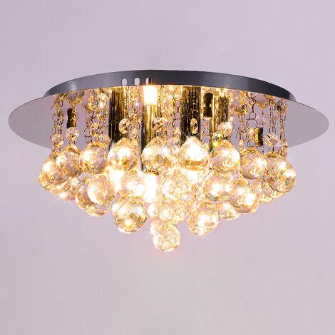 35CM LED Round Spherical Rhombus Modern Chrome Crystal Ceiling Lights, Warm White