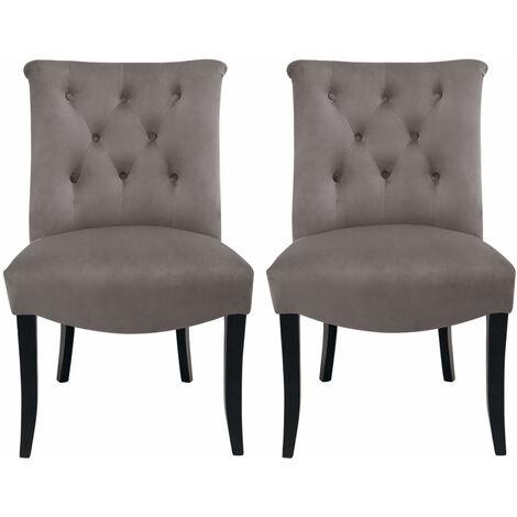 Set of 2 Chesterfield Crush Velvet Dining Chairs, Grey