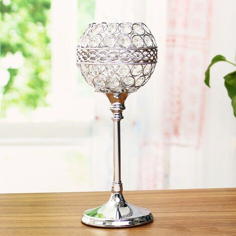 Crystal Glass Tea Light Holder Candle Stand Centerpieces Christmas Wedding Party , Silver , 28cm
