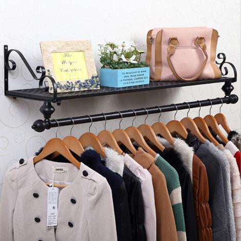 80cm Length Black Wall Mounted Garment Clothes Rail Home Shop Dress Hanging Display