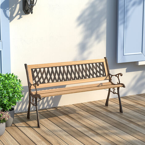 Wooden Garden Patio Bench Cast Iron, 3 Seater Cast Aluminium Garden Bench