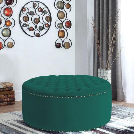 70CM Round Frosted Velvet Ottoman Footstool, Dark Green