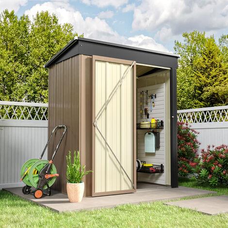 5ft x3ft Brown Metal Garden Shed Garden Storage